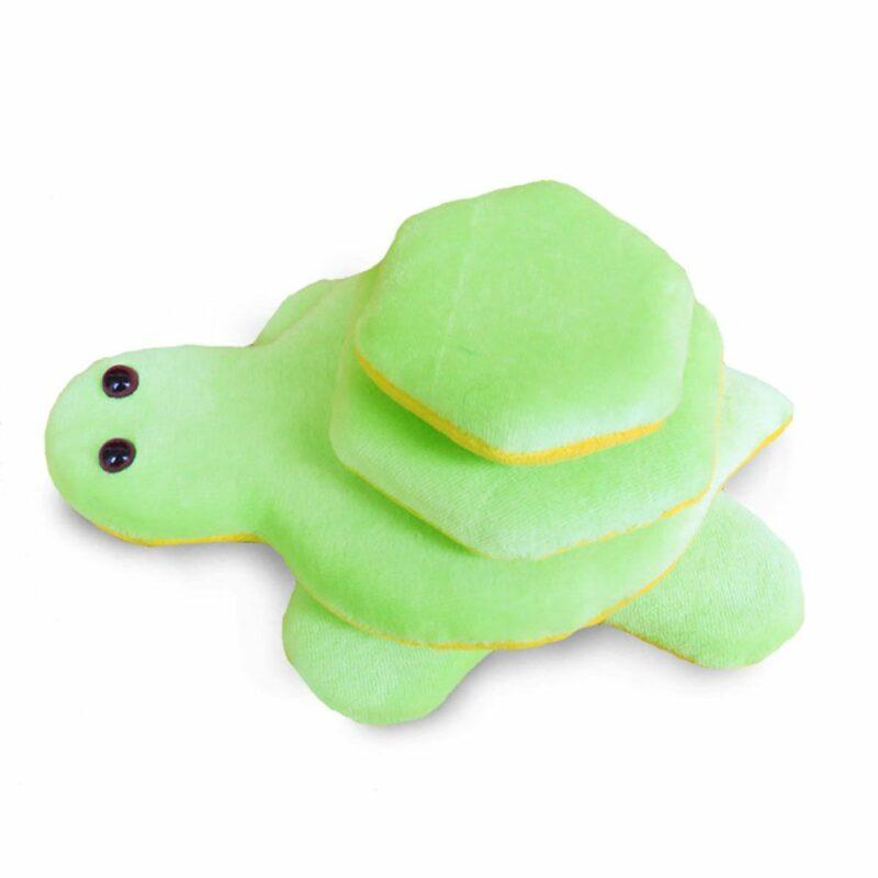 Teknős tépőzáras plüss fejlesztőjáték